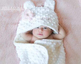 Pink Infant Minky Swaddle with Personalized Hood White Pink Soft Receiving Minky Swaddle