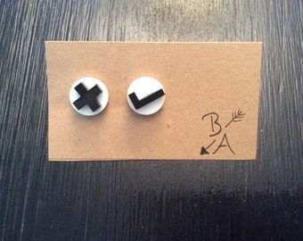 Ticks and Crosses Stud Earrings