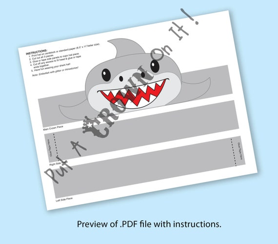 shark paper crown printable shark paper crown printable
