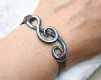 Treble Clef Bracelet, Blacksmith, Hand Forged Iron Jewelry, Iron Anniversary Gift, Music Jewelry