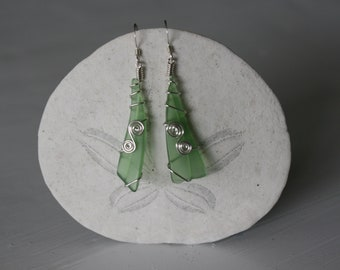 Green Recycled Glass Wire Wrapped Earrings with Silver Spirals
