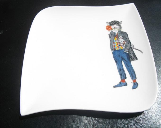 plate / dessert / handpainted / ceramic / funny / cat