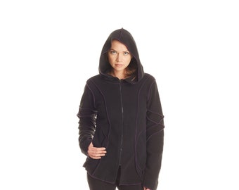 Overlock Jacket MR117 (unisex, fleece, hoody, zip up, outerwear, fall clothing, men, women, cozy, alternative jacket, gypsy, overlock)