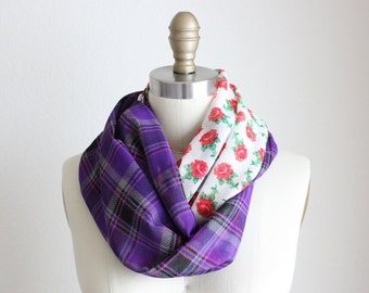 Purple Plaid and Red Flowers, Reversible Infinity Scarf