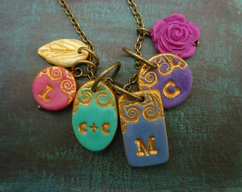 Family Necklace - Jewel Tones - Multicharm Initial Necklace - Couple and kids necklace
