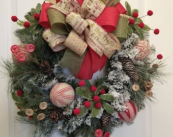 Country Christmas Red Striped Poinsettia Wreath, Snowy County Christmas Wreath, Christmas Holiday Décor