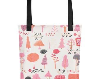 Pink Forest Woodland Scene Tote bag