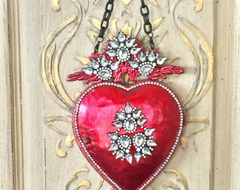 Metal heart, ex-voto, heart wall decor, heart mirror, Valentines day gift, red metal heart, sacred heart metal wall decor vintage french