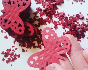 50, deep red, deep red with shimmer,  shimmer, dark red,butterflies, paper, scrap booking, wedding, by DoodleDee2 on etsy