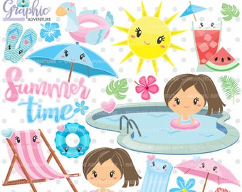 Summer Clipart, Summer Graphic, COMMERCIAL USE, Kawaii Clipart, Pool Graphic, Swimming Graphics, Planner Accessories, Summer Party