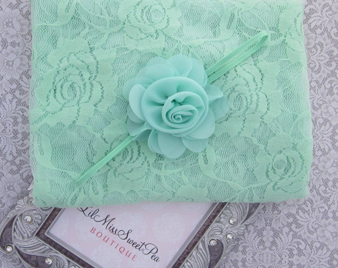 Mint stretch lace swaddle wrap and/or matching mint ruffle chiffon flower headband trimmed w/ pearls and rhinestones by Lil Miss Sweet Pea