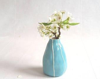 Ceramic bud vase. Small pottery, blue vase, yellow vase. Black vase. House warming. Gift for coworker, teacher. Gift under 40. Table decor
