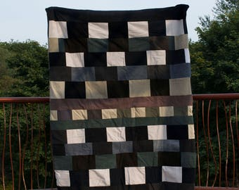 Corolin's Quilts - Twin Jean and Khaki with fleece backing