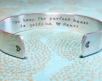Baptism | Sponsor Gift | Godmother Gift | Teacher Gift | You have the perfect heart to guide me. <3 (name) Hand Stamped Bracelet