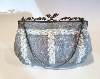 Silver Beaded Purse with Pearls AB Frame