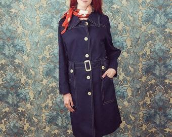 Trench coat, navy blue , 70s trench coat,
