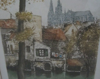 French Hand Colored Etching on Paper Chartres, France Matted and Framed 12x17