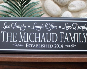 Family name established sign-wood sign-personalized wall sign-parents anniversary gift-live laugh love-wall decor-sister-brother family gift