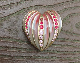 Vintage Jewelry Signed Monet Valentine's Day Enamel & Stones Heart Pin Brooch