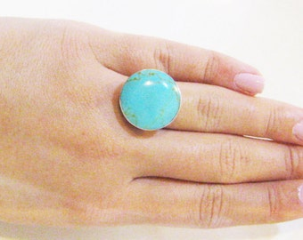 Turquoise Jewelry, Turquoise Ring, Natural tuquoise ring, Sterling Silver Ring, Boho Ring, Adjustable Ring, Blue Ring, Silver Ring,Big Ring