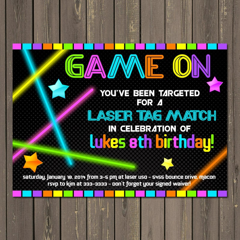 Laser Tag Invitation Laser Tag Birthday Invitation Neon