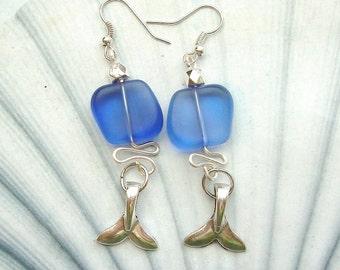 Whale Tail Artwire Cobalt Blue Seaglass Earrings, silver earrings, whale jewelry, seaglass earrings, sealife jewelry, whale earrings