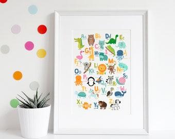 Animal alphabet A3 poster, Animal print, Alphabet print, Childrens art, Nursery print, Nursery art, Nursery decor, Preschool gift, Baby gift