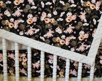 Black Apricot Floral Ivory Minky Baby Blanket