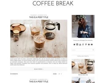 Premade Blogger Template - Instant Download - Coffee Break - Blogspot blogger theme - blog design - blogger blog template