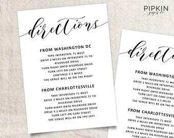 Wedding Directions Template | Wedding Info Card Template | Directions Card | Details Card | Wedding Enclosure Card | Digital Download