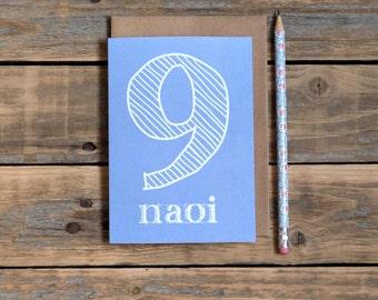 naoi - 9 card, nine years old, as gaeilge birthday card, made in Ireland, Irish language, childs birthday card in Irish
