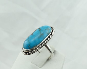 Hand Made Sterling Silver And Turquoise Southwest Native American Navajo Ring  #BLUE-SR2