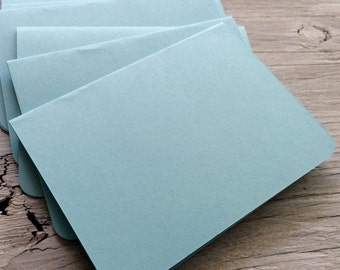 Blank note cards, rounded corner card, light blue cards, set of 4