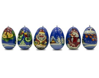 "2.25"" Set of 6 Santa Claus with Snowman and Birds Wooden Russian Christmas Ornaments"