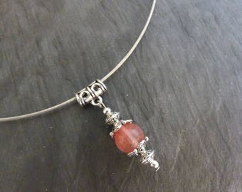 Strawberry quartz semi precious ♥ torque on stone pendant necklace ♥