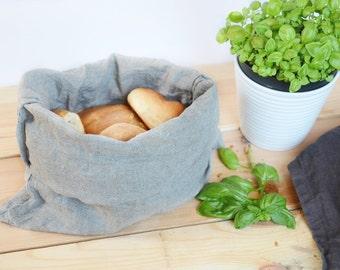 Linen bread bag - Natural grey linen bread serving & storage basket