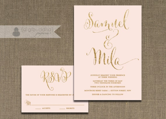 Blush pink and gold wedding invitation rsvp 2 piece suite