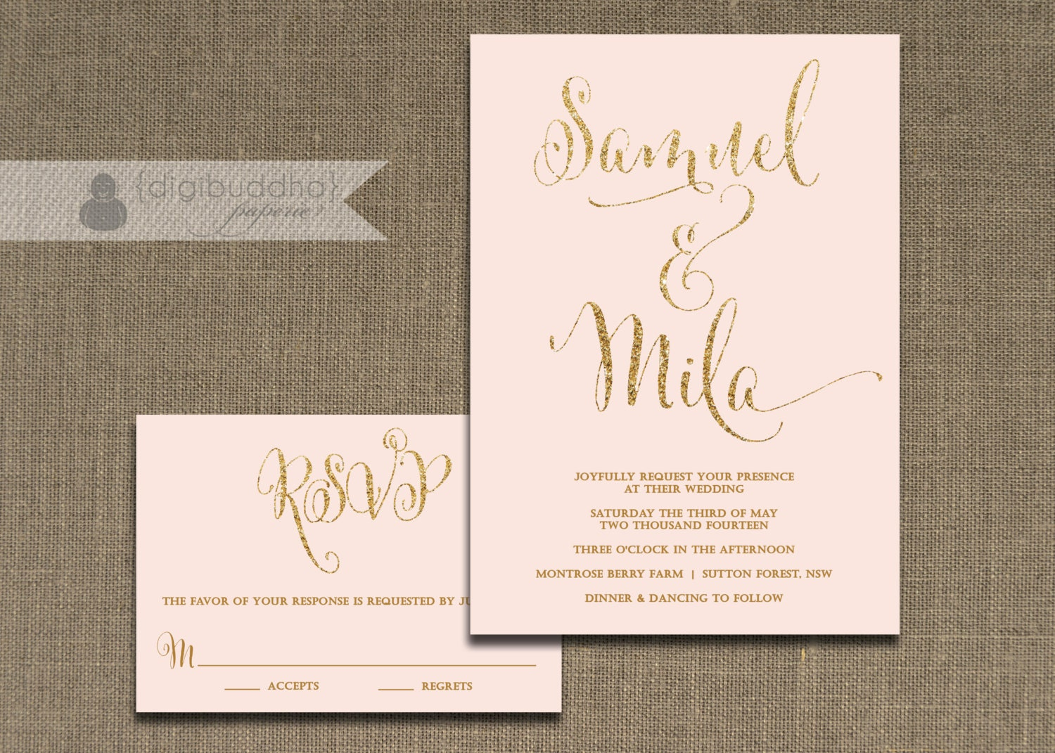 Golden Wedding Invitations Free: Blush Pink And Gold Wedding Invitation & RSVP 2 Piece Suite