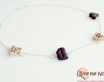 Polymer Clay Sweets Biscuits and Chocolate Necklace, Mini Food Necklace, Food Jewelry, Kawaii Jewelry, Miniature Sweets, Cute Jewelry