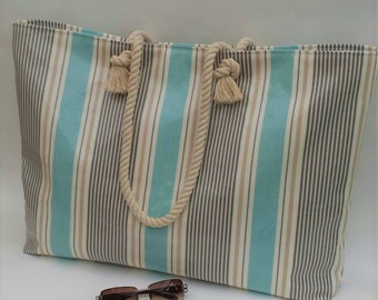 Beach bag (Extra Large) in Marine Sail Stripe, 100% waterproof and wipe clean