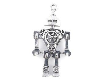 Pendant antique silver robot 46x25mm (88)