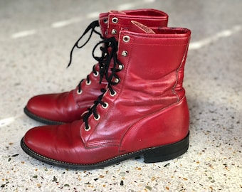 6.5 M / Vintage Roper Boots / Red Leather Ankle Booties / Ropers / Lacers / On trend / Justin Boots / Nashville Boots