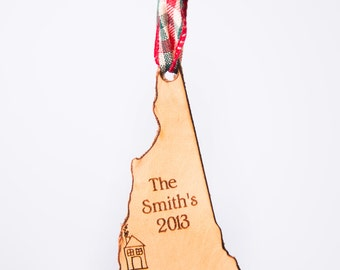 New Hampshire State Shape Christmas Ornament New Hampshire Ornament Granite State Ornament State Shape Ornament Leather Ornament