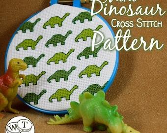 Mini Long Neck Dinosaur Cross Stitch Pattern