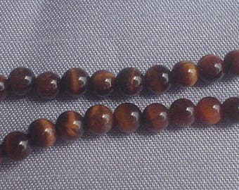 natural gemstone tiger eye red round bead 4 mm / 16 inch one
