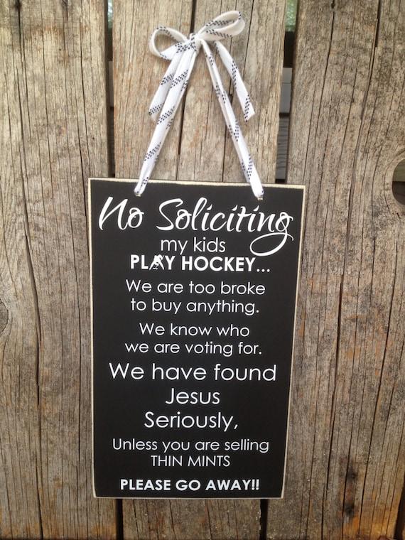 No SOLICITING Sign No Soliciting Hockey Sign No Soliciting
