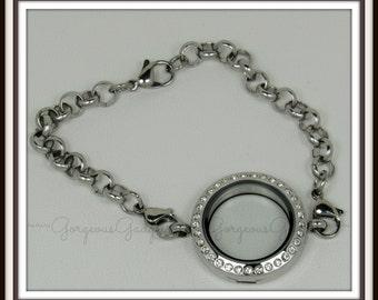 25mm Floating Locket / Glass Locket / Memory Locket Bracelet - Stainless Steel With Crystals