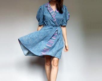 Puff Sleeve Dress Vintage 80s Blue Dress Striped Mini Prairie Dress 1980s Dress - Small to Medium S M