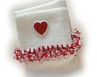 Kathy's Beaded Socks - Red Hearts Socks, girls socks, red socks, white socks, school socks, holiday socks