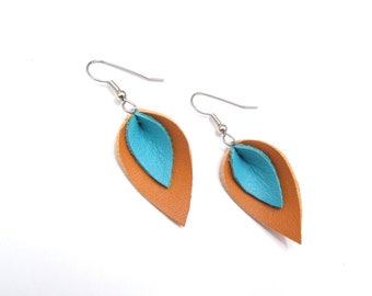 Tan and Turquoise Leather Petal Earrings, Small, Recycled, mini, western style, southwestern style earrings, festive